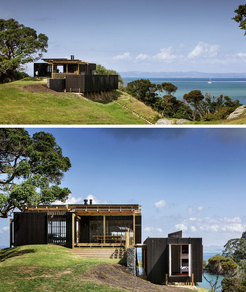 14 Examples Of Modern Beach Houses // Sitting on the top of a grassy hill, this holiday house offers incredible views of the Whangarei Heads on the North Island of New Zealand.