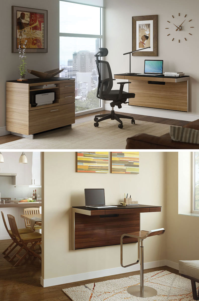 16 Wall Desk Ideas That Are Great For Small Spaces Contemporist Rh  Contemporist Com Office Furniture For Small Bedrooms Armoire Office Desk  Small Space