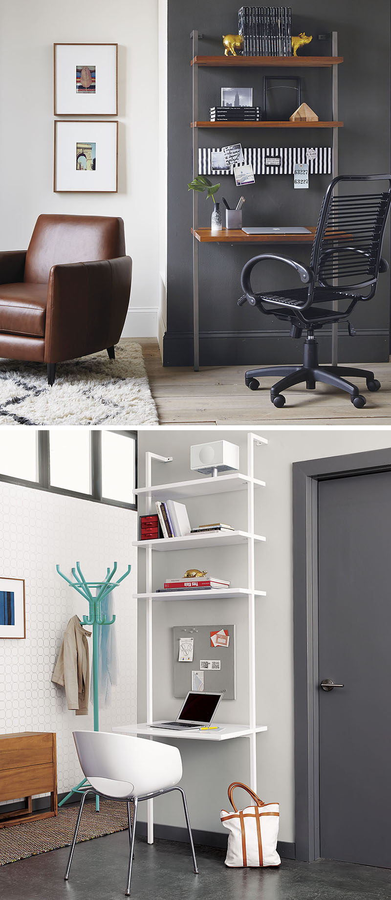 office wall mounted shelving. 16 Wall Desk Ideas That Are Great For Small Spaces // This Shelving System Mounts Office Mounted