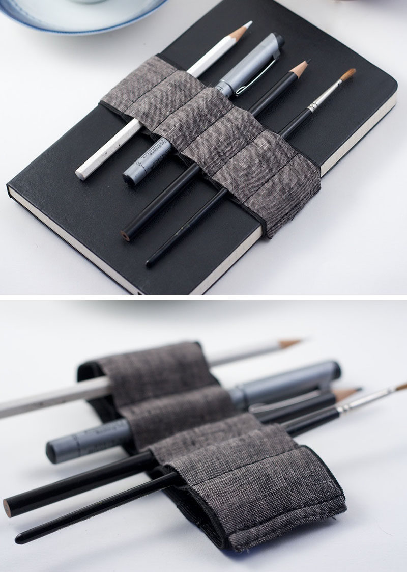 This bandolier wraps around journals and notebooks to secure the pages and holds a number of pens and pencils for all your writing and sketching needs.