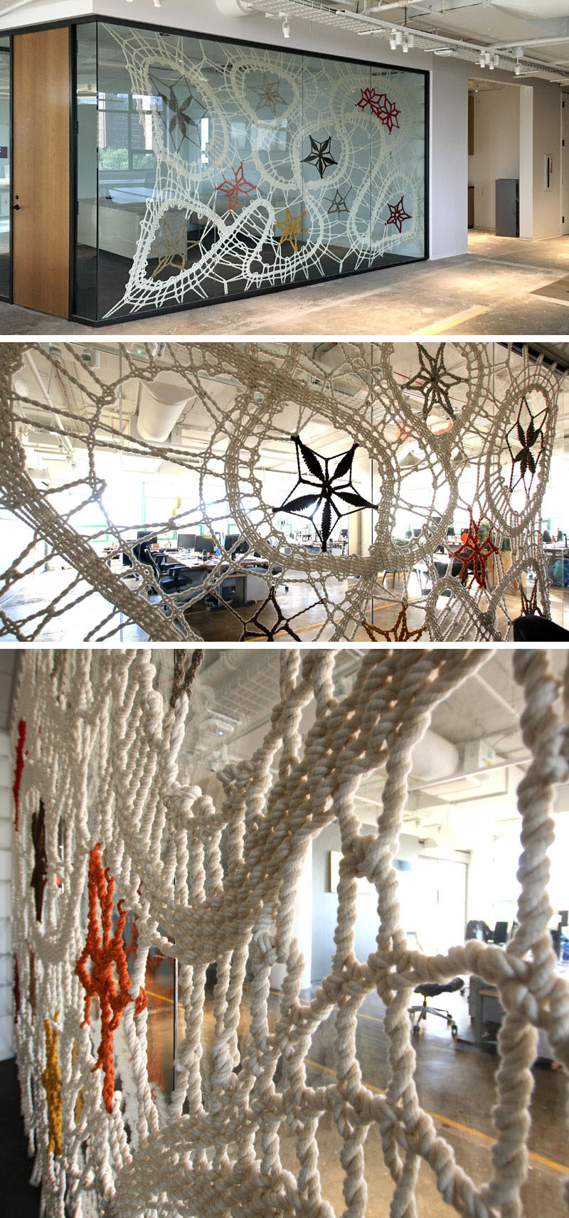 Artist Manca Ahlin of Mantzalin, was commissioned by Etsy to create a collection of handmade rope installations for their new head office in Dumbo, New York.