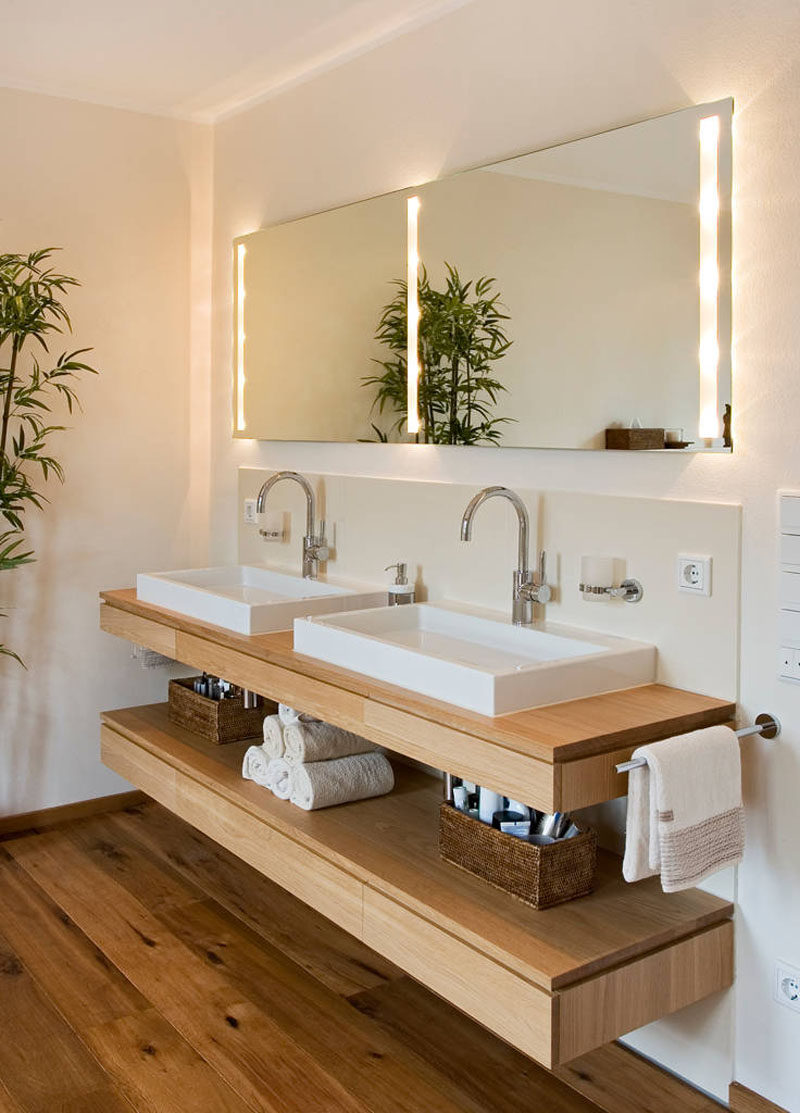 Beautiful Bathroom Design Ideas Open Shelf Below The Countertop Dual sinks sit above a