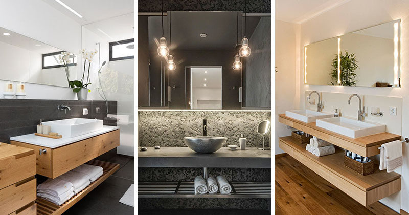 Bathroom Design Idea Create An Open Shelf Below The Countertop 17 Pictures
