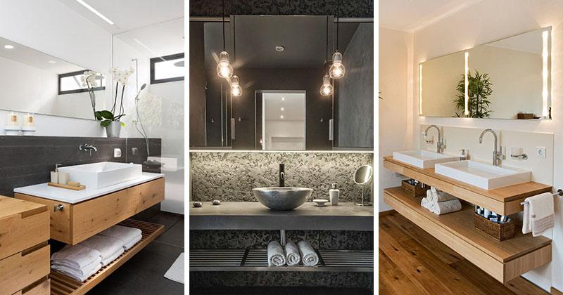 Bathroom Design Idea - An Open Shelf Below The Countertop (17 Pictures)