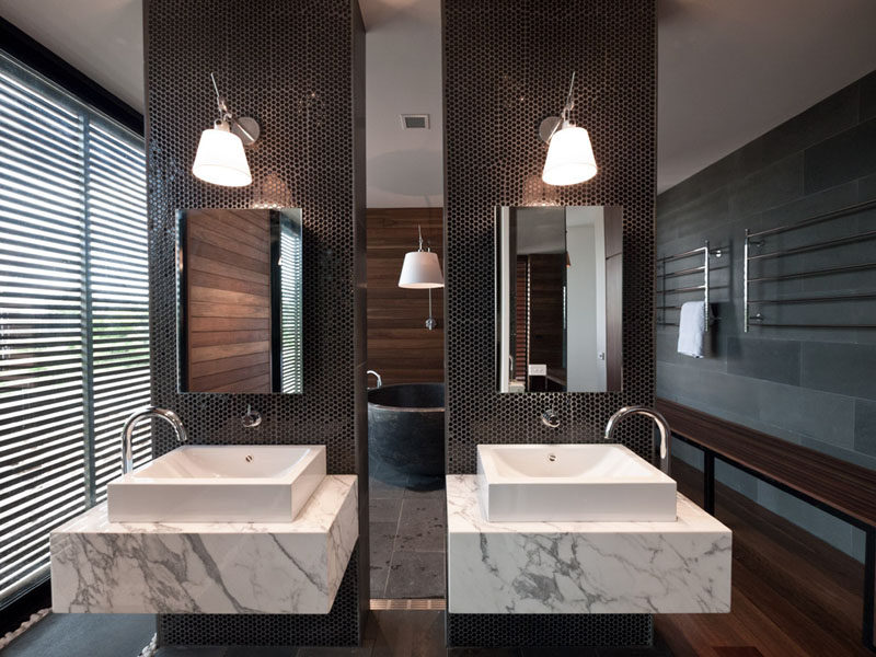 5 Bathroom Mirror Ideas For A Double Vanity // Two rectangular mirrors lets each person have their own space.