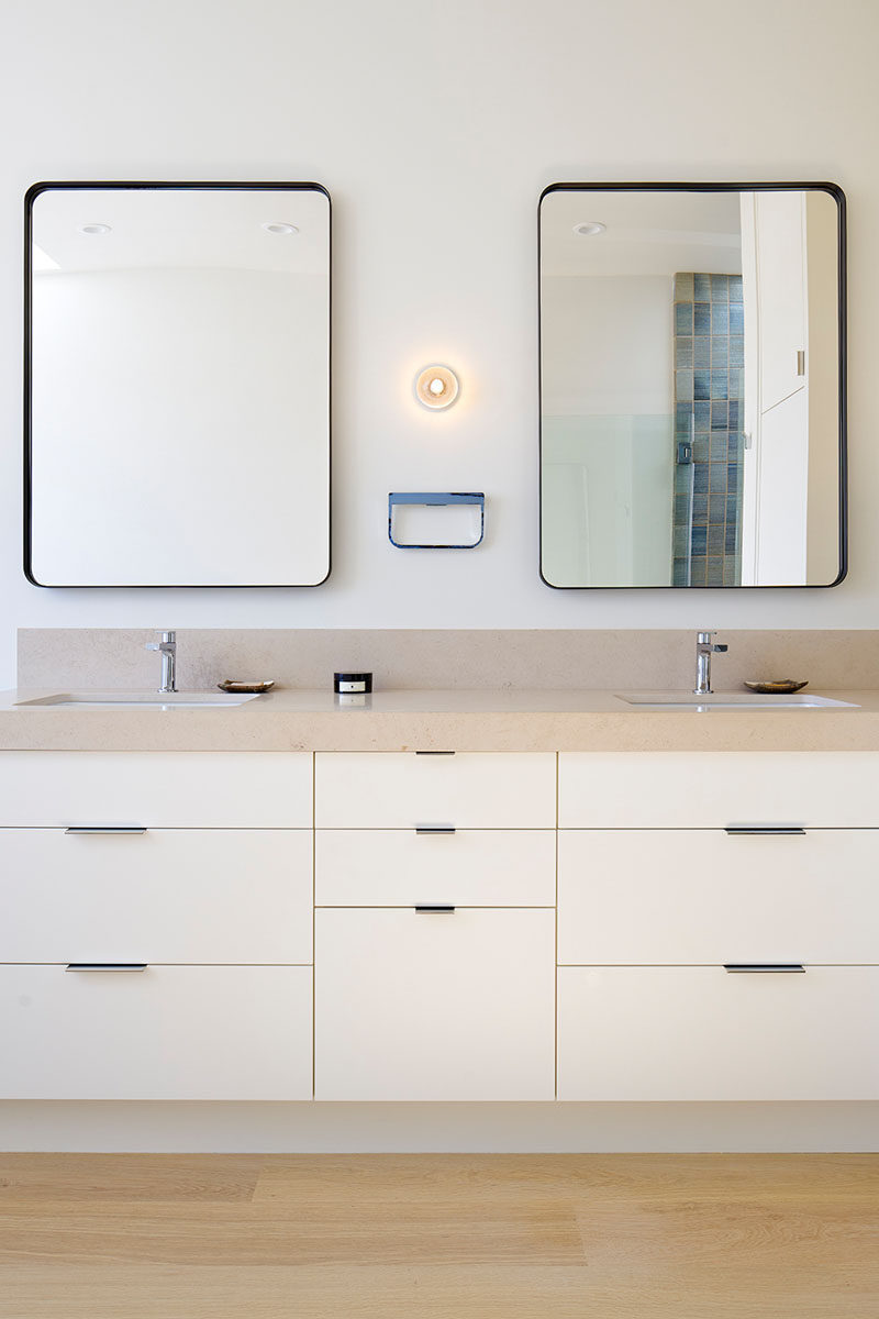 Epic  Bathroom Mirror Ideas For A Double Vanity Two rectangular mirrors adds height to