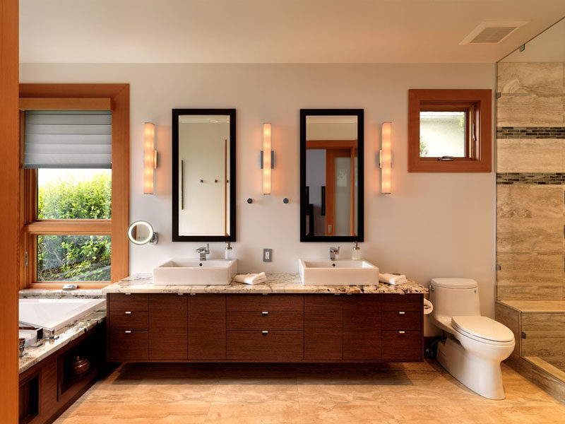 double vanity with two mirrors. 5 bathroom mirror ideas for a double vanity // two rectangular mirrors adds height to with