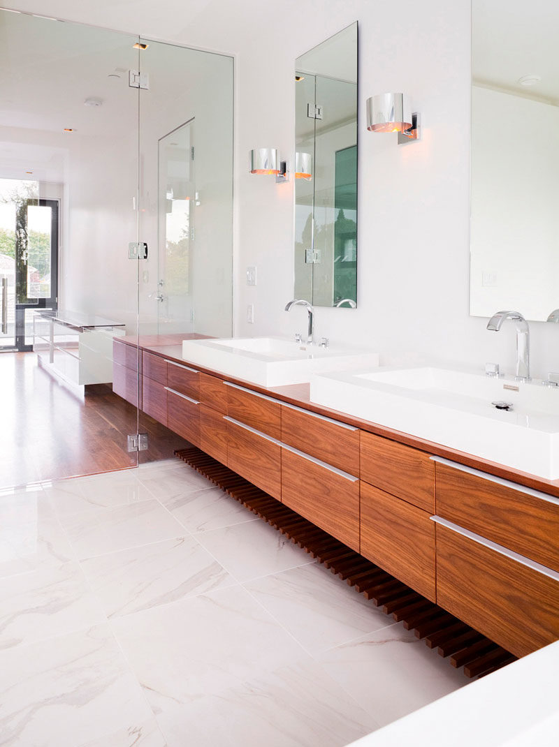 Great  Bathroom Mirror Ideas For A Double Vanity Two rectangular mirrors adds height to