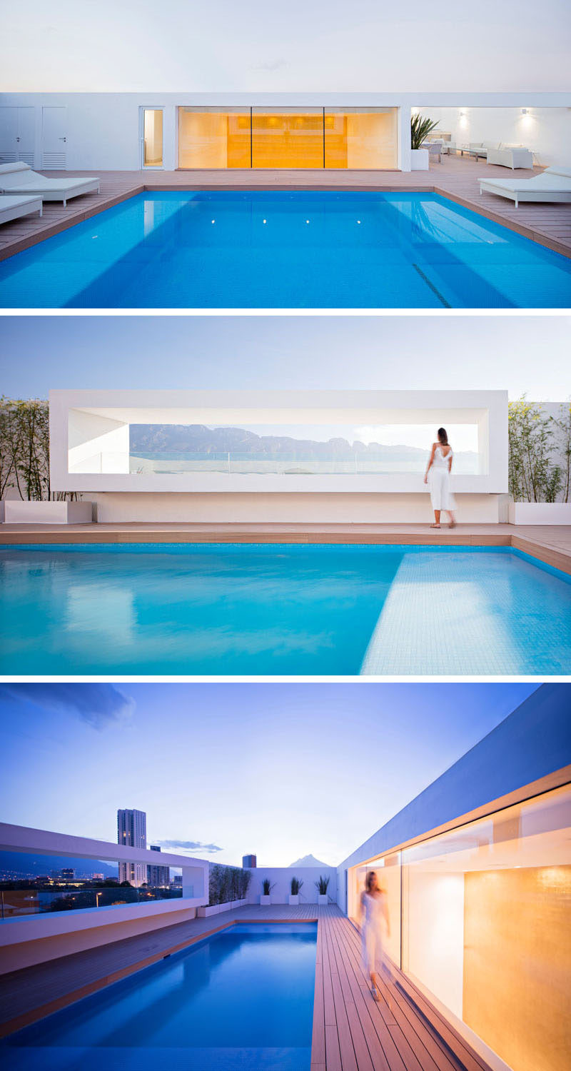 On the rooftop of this home is the pool, with one side of the pool deck looking into the reading area and gold sheet wall, with the other side providing views of the Sierra Madre Oriental mountain range.