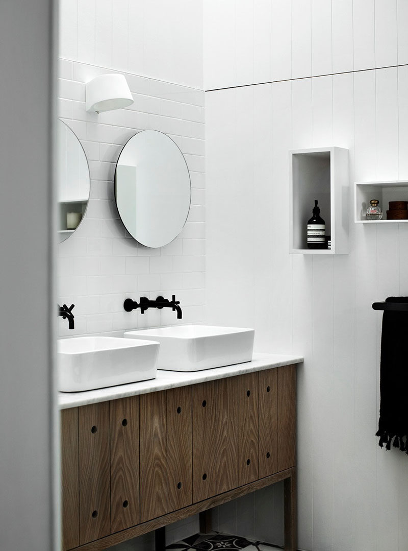 Beautiful  Bathroom Mirror Ideas For A Double Vanity Two circular mirrors are a simple