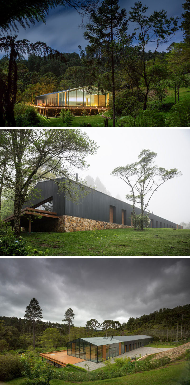 18 Modern House In The Forest // This house high in the Brazilian mountains is surrounded by lush rainforest to provide the healthiest air possible. #ModernHouse #ModernArchitecture #HouseInForest #HouseDesign