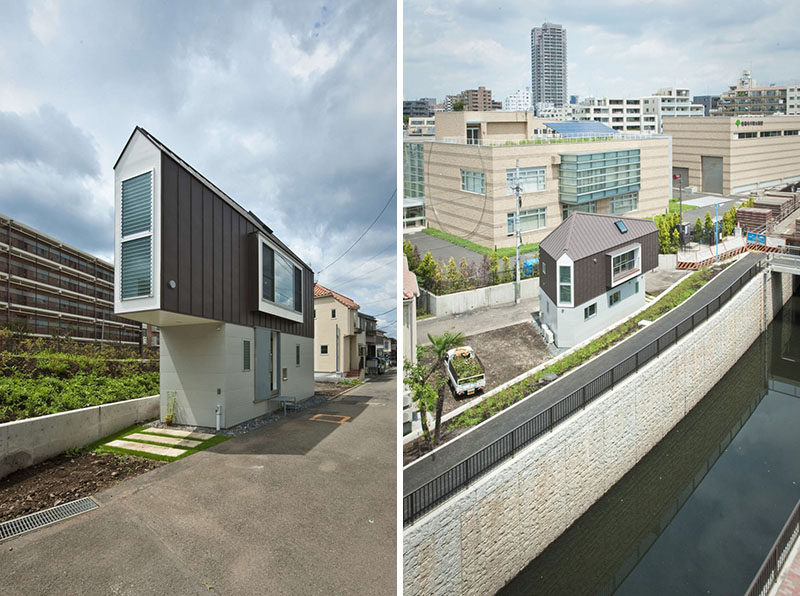11 Small Modern House Designs // This small house sits on a tiny triangular lot next to a river.