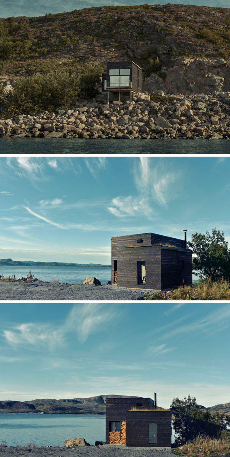 11 Small Modern House Designs // Tucked into the rocks of the Norwegian coast, this small dark wood home is just big enough to create a cozy space for one or two people. #SmallHouse #ModernHouse #ModernArchitecture #SmallHome