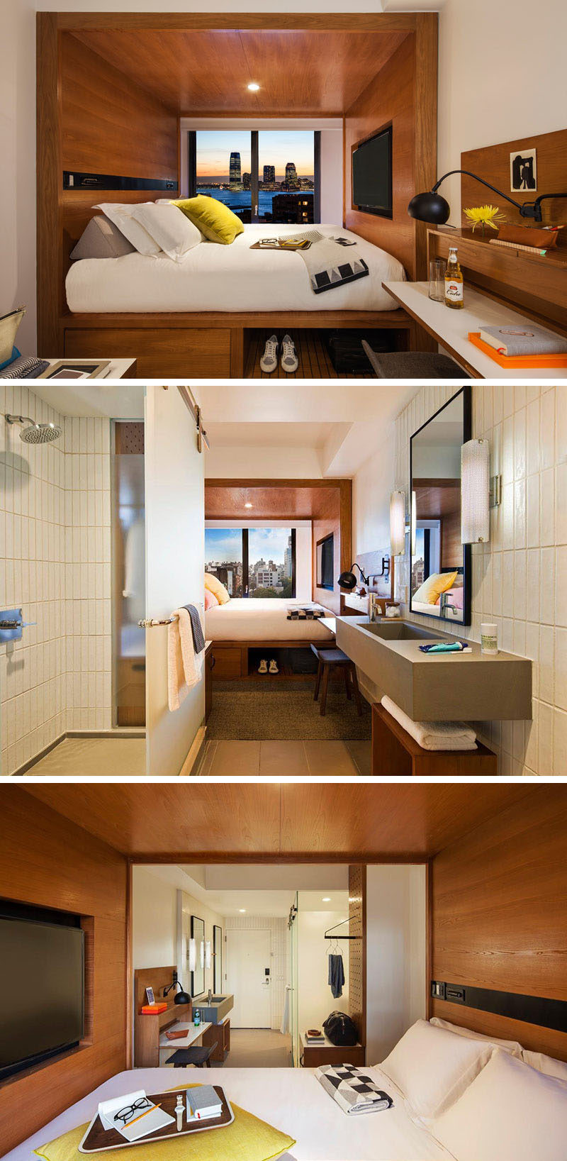 8 small hotel rooms that maximize their tiny space for Bedroom layouts for small rooms