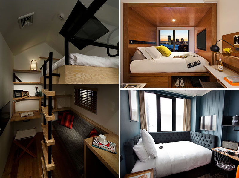 Maximize Small Bedroom 8 small hotel rooms that maximize their tiny space | contemporist
