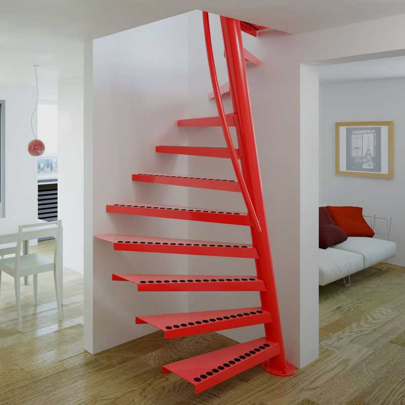 13 Stair Design Ideas For Small Spaces // This spiral staircase fits perfectly into a small corner and curves up to the second floor while hardly taking up any space.