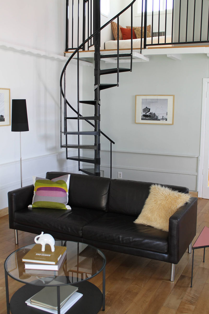 13 Stair Design Ideas For Small Spaces // The Thin Spiral Staircase Leading  Up To