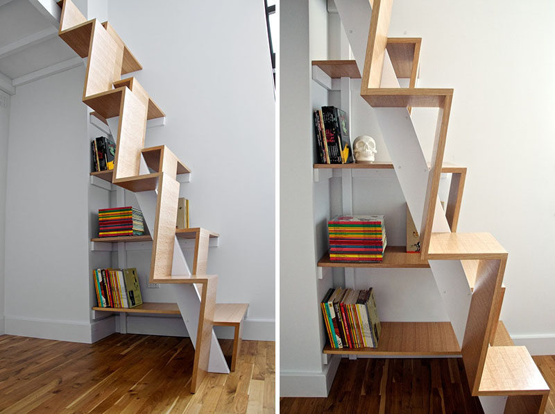 13 Stair Design Ideas For Small Spaces // The treads on these stairs alternate heights and are quite vertical, making them easy to climb and preventing them from taking up too much space.