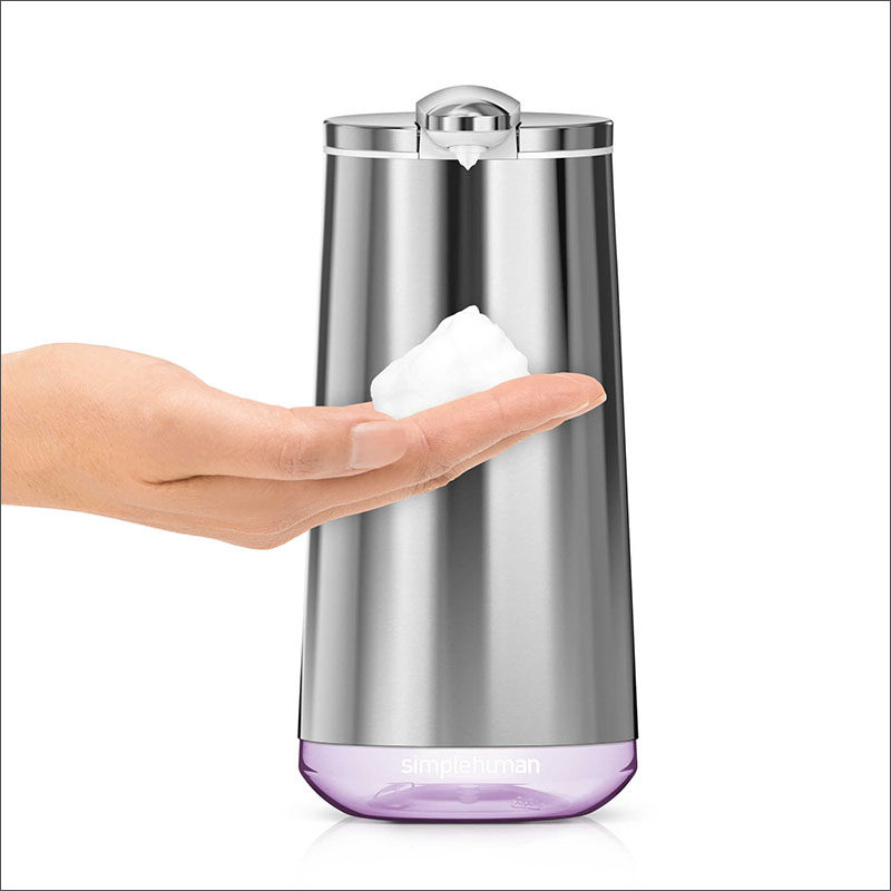 Bathroom Decor Ideas- Sophisticated Soap Dispensers // This sleek shiny soap dispenser is so high tech you don't even need to touch it to get soap onto your hands.