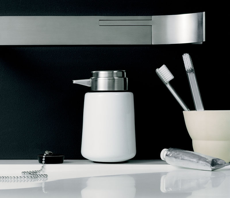 Bathroom Decor Ideas- Sophisticated Soap Dispensers // Available in both black and white, this little soap dispenser packs a major style punch and looks right at home on bathroom counters.