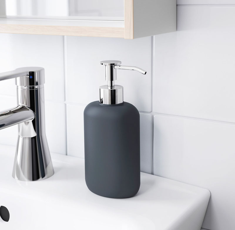 Bathroom Decor Ideas- Sophisticated Soap Dispensers // A simple matte black soap dispenser surrounded by a white bathroom makes a bold statement and creates a sophisticated contrast.