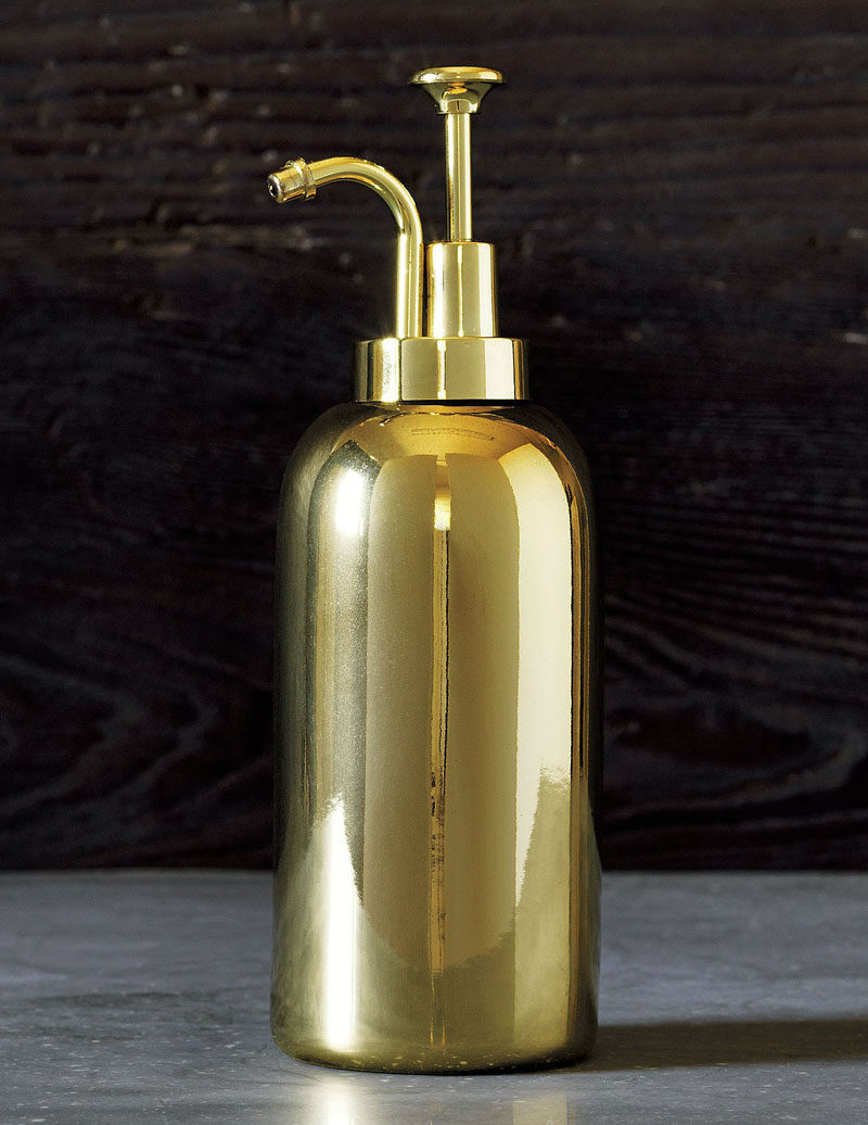 Bathroom Decor Ideas- Sophisticated Soap Dispensers // A gleaming gold soap dispenser adds a sophisticated glam to your bathroom and works with nearly every bathroom interior.