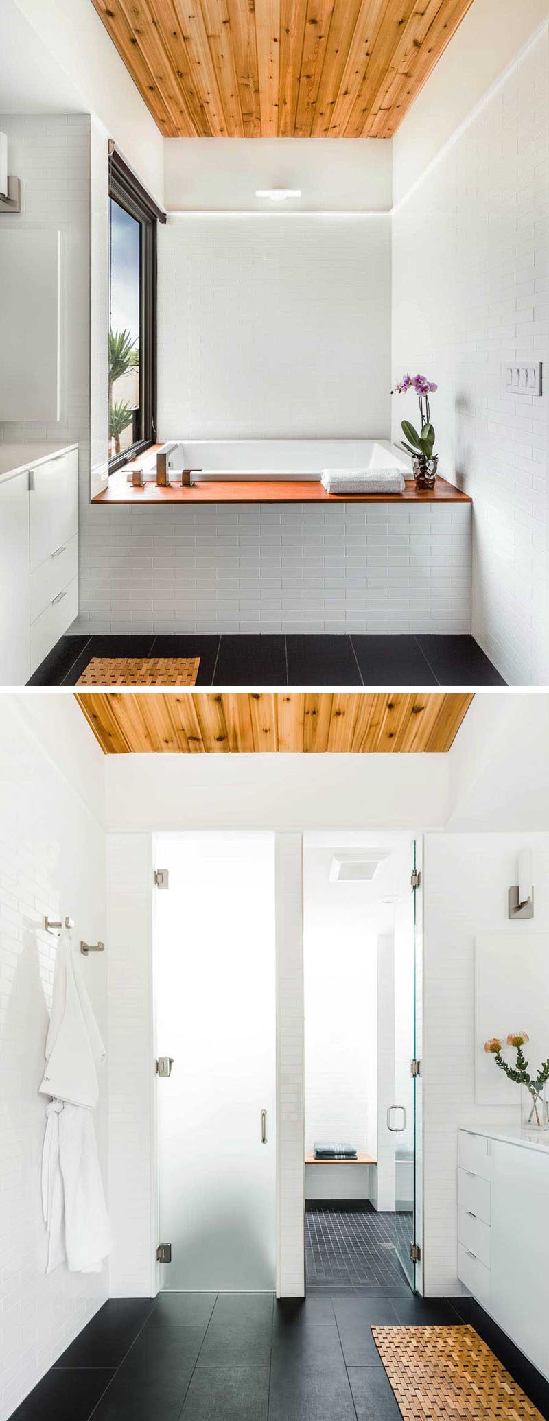 Bathroom Design Idea - Create a Spa-Like Bathroom At Home // Include crisp white walls and touches of wood.