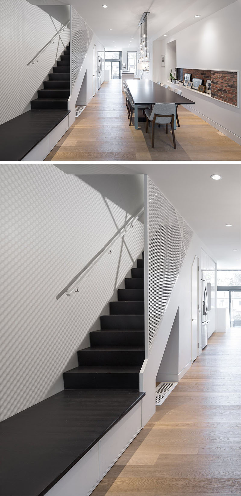 Stairs Design Ideas - This home has three hidden drawers located under the stair landing that are perfect for storing shoes and dog toys.