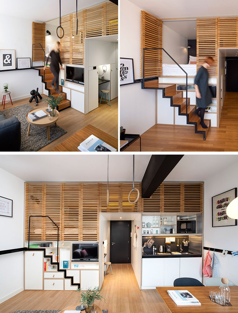 13 Stair Design Ideas For Small Spaces // This Stair Case Pulls Out When  Itu0027s