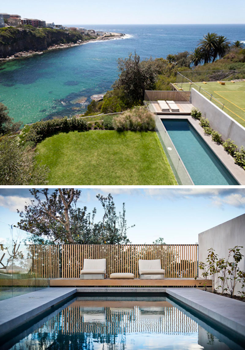 This landscaped backyard has a 15m lap swimming pool and a small sundeck.