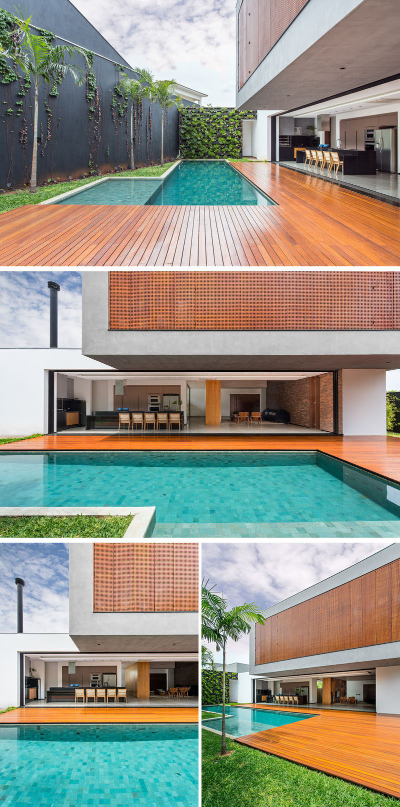 A large wooden deck wraps around this swimming pool that's located off the main living area of this Brazilian home.