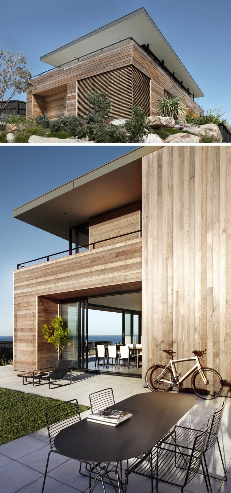 Great 14 Examples Of Modern Beach Houses // Light Wood Paneling Covers The  Exterior Of The Great Ideas