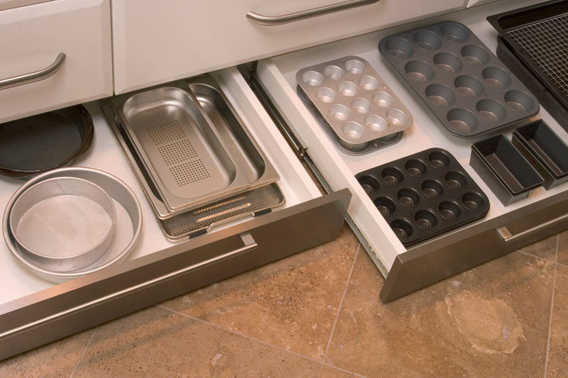 Kitchen Design Idea - Toe Kick Drawers // Storage for all your baking trays, pans and cooking essentials.