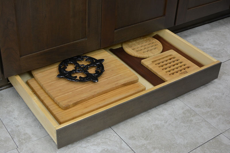 Kitchen Design Idea Toe Kick Drawers Storage For All Your Cutting Boards