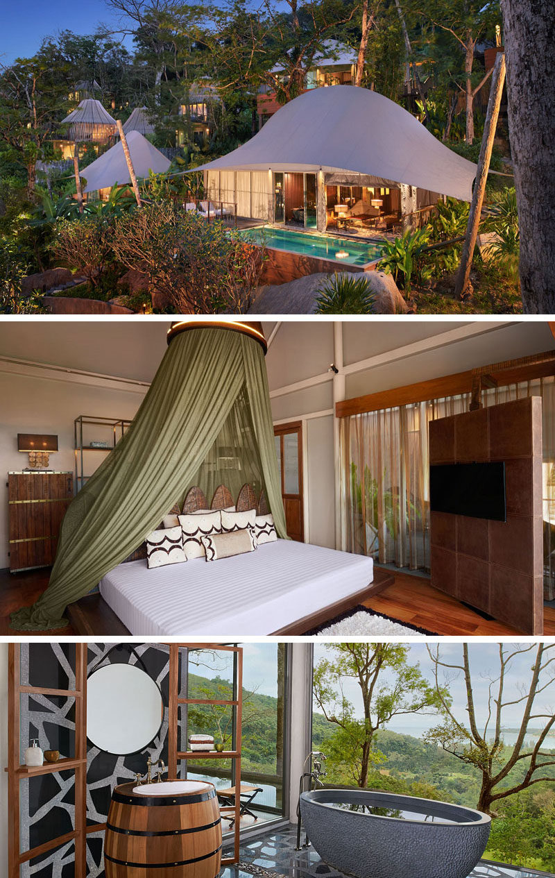 Travel Idea - The Tent Pool Villas at the Keemala resort in Thailand, were designed to represent the Khon-Jorn clan who were known for their traveling, nomadic lifestyle.