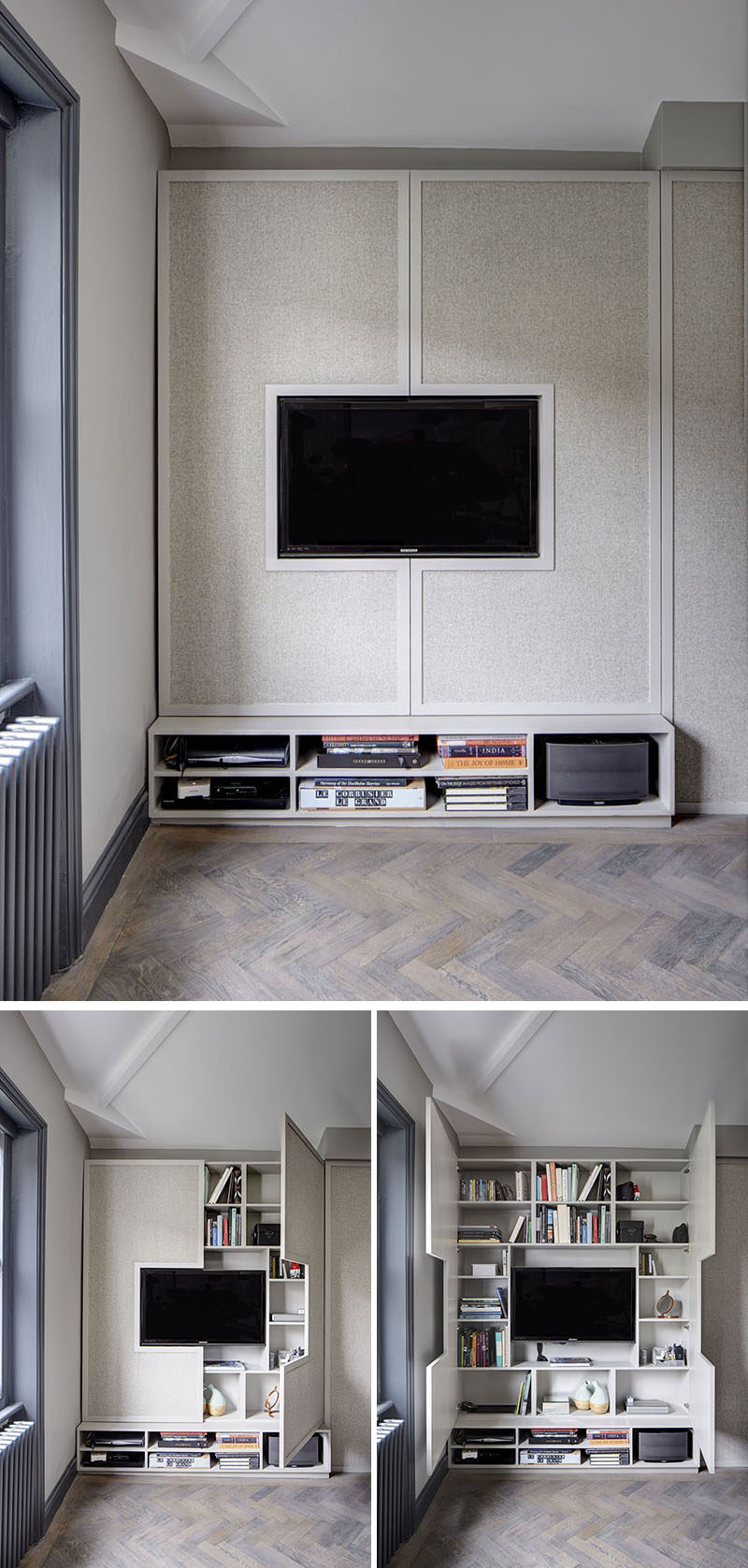 8 TV Wall Design Ideas For Your Living Room // Although This TV Appears To