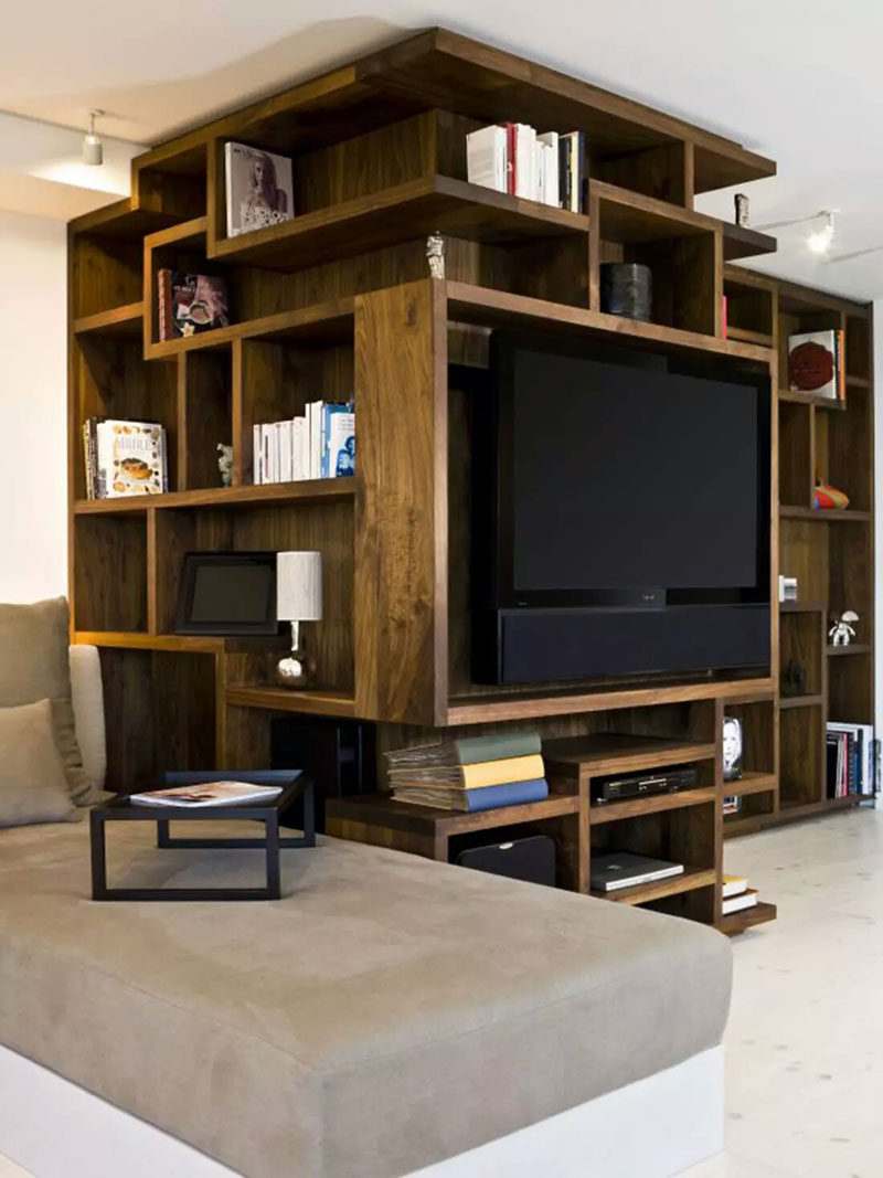8 TV Wall Design Ideas For Your Living Room // This Custom Artistic  Shelving Unit