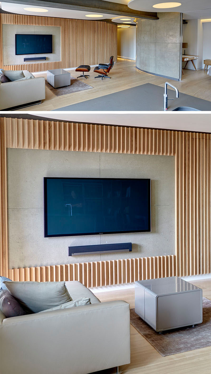 8 TV Wall Design Ideas For Your Living Room // Thin Wood Panels Have Been