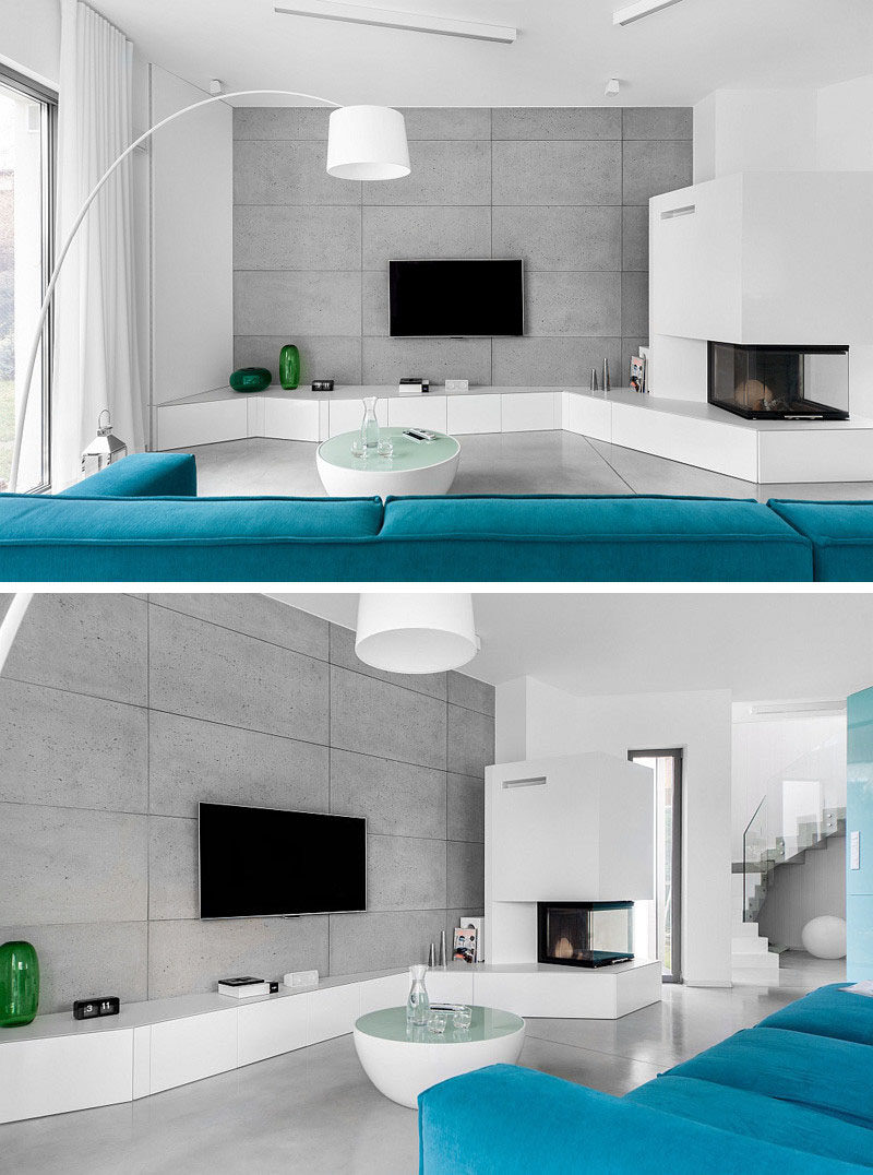 8 TV Wall Design Ideas For Your Living Room // The concrete wall behind the & 8 TV Wall Design Ideas For Your Living Room | CONTEMPORIST