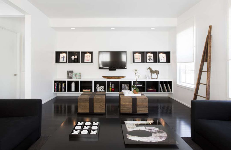 8 tv wall design ideas for your living room contemporist for Salon design noir et blanc