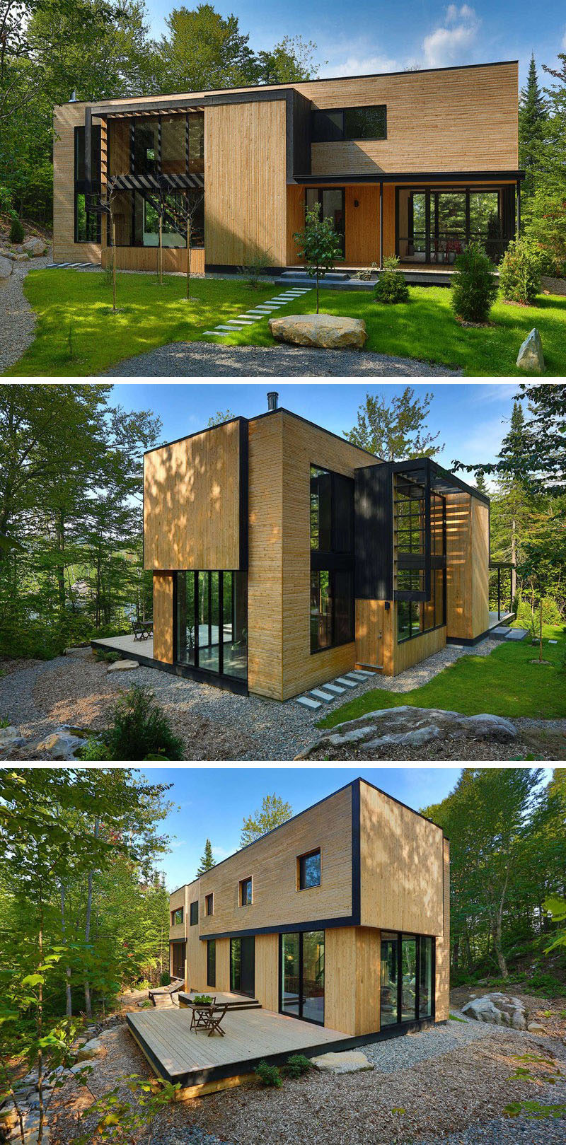 18 Modern House In The Forest // Light colored wood covers the exterior of this house surrounded by forest, helping it fit right in among the rest of the wood in the forest. #ModernHouse #ModernArchitecture #HouseInForest #HouseDesign
