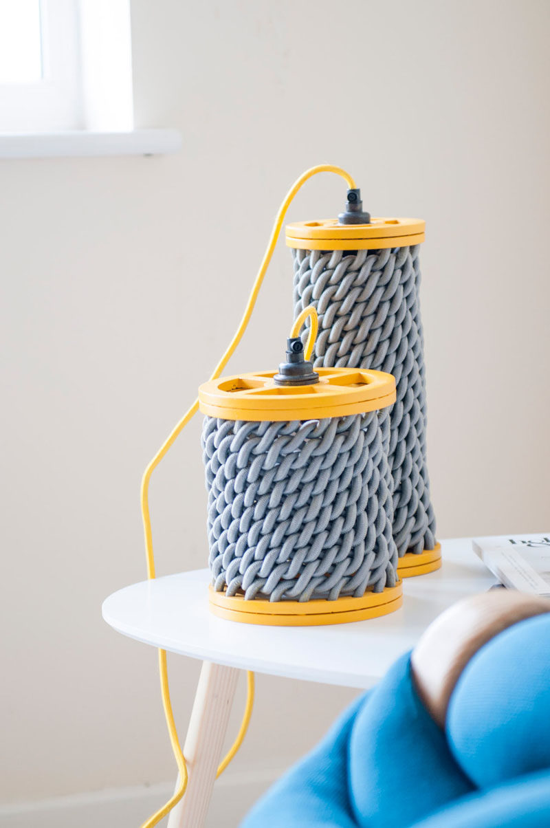 These creative yellow and grey pendant lights have woven elements.