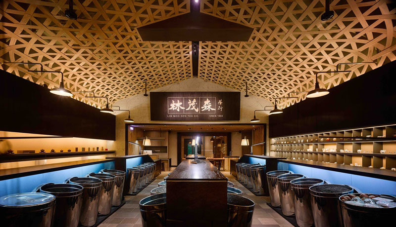 Ceiling Design Ideas - A Woven Wood Drop Ceiling Creates A Dramatic Cathedral Effect In This Tea Shop