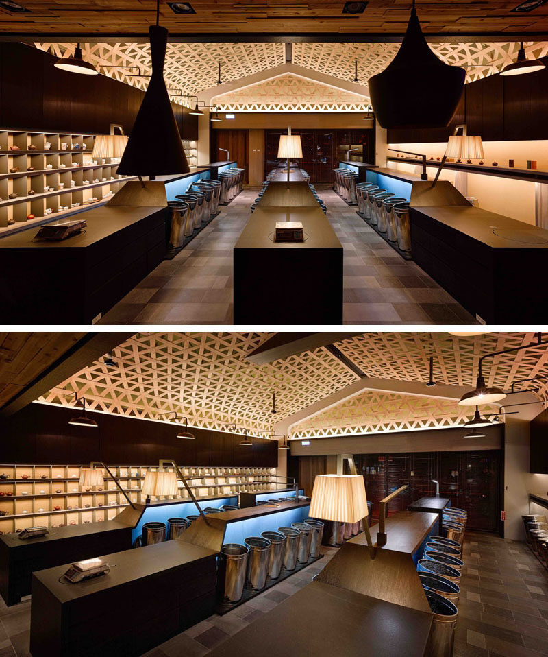 Ceiling Design Idea - A Woven Wood Drop Ceiling Creates A Dramatic ...