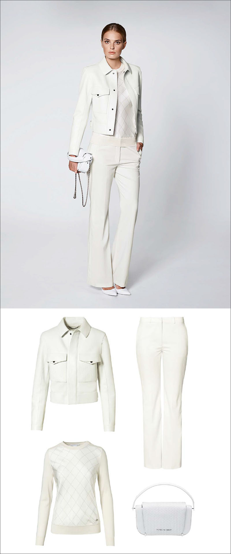Women's Fashion Ideas - 12 Womens Outfits From Porsche Design's 2017 Spring/Summer Collection // This all white women's outfit features a white leather jacket, a knit sweater, flared white pants, and a simple white purse.