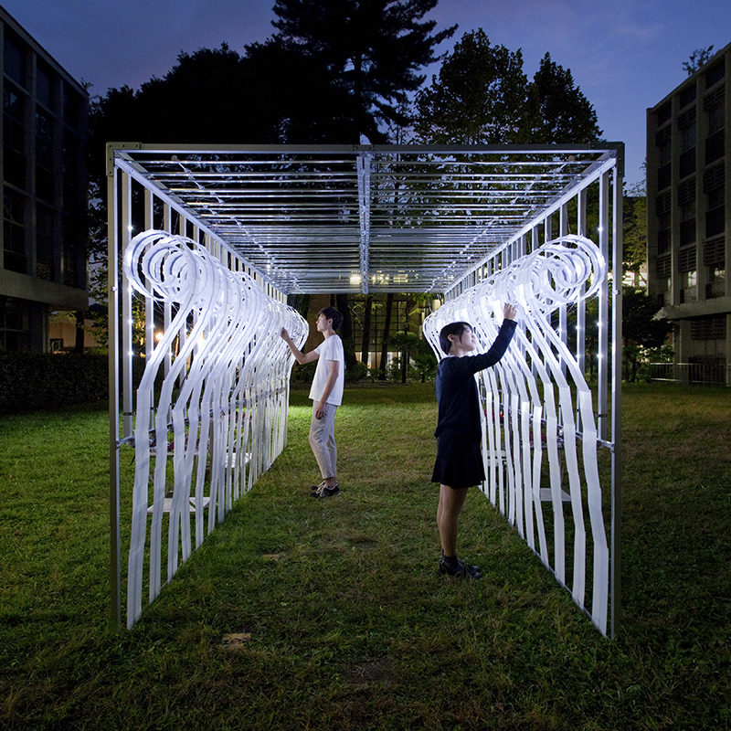 This artistic installation is named the Scroll Hut Pavilion, and it was designed by Hiroyuki Futai + EP3