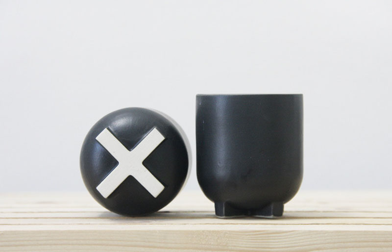 Home Decor Ideas - 6 Ways To Include Ceramic In Your Interior // These matte black ceramic cups with white X's on the bottoms are just the right size for a morning cup of coffee or an afternoon tea.