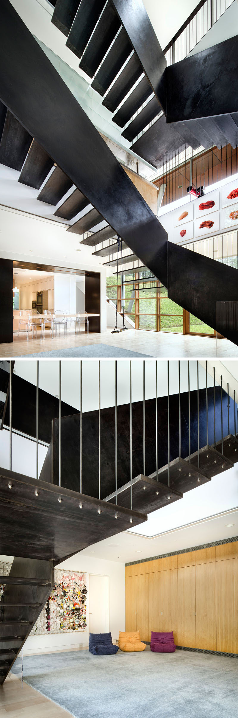 Industrial-looking stairs made from steel connect the various levels of this modern home.