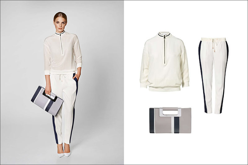 Women's Fashion Ideas - 12 Women's Outfits From Porsche Design's 2017 Spring/Summer Collection // This women's outfit made up of a white blouse, white pants with a navy stripe, and a simple grey and navy clutch, is perfect for a casual spring outing.