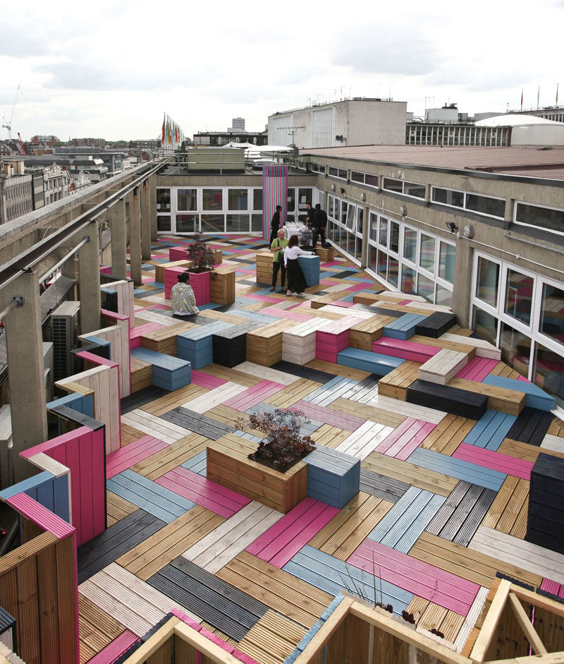 Deck Design Ideas   This Rooftop Deck Received A Colorful Modern Makeover  For Its Wood Bench